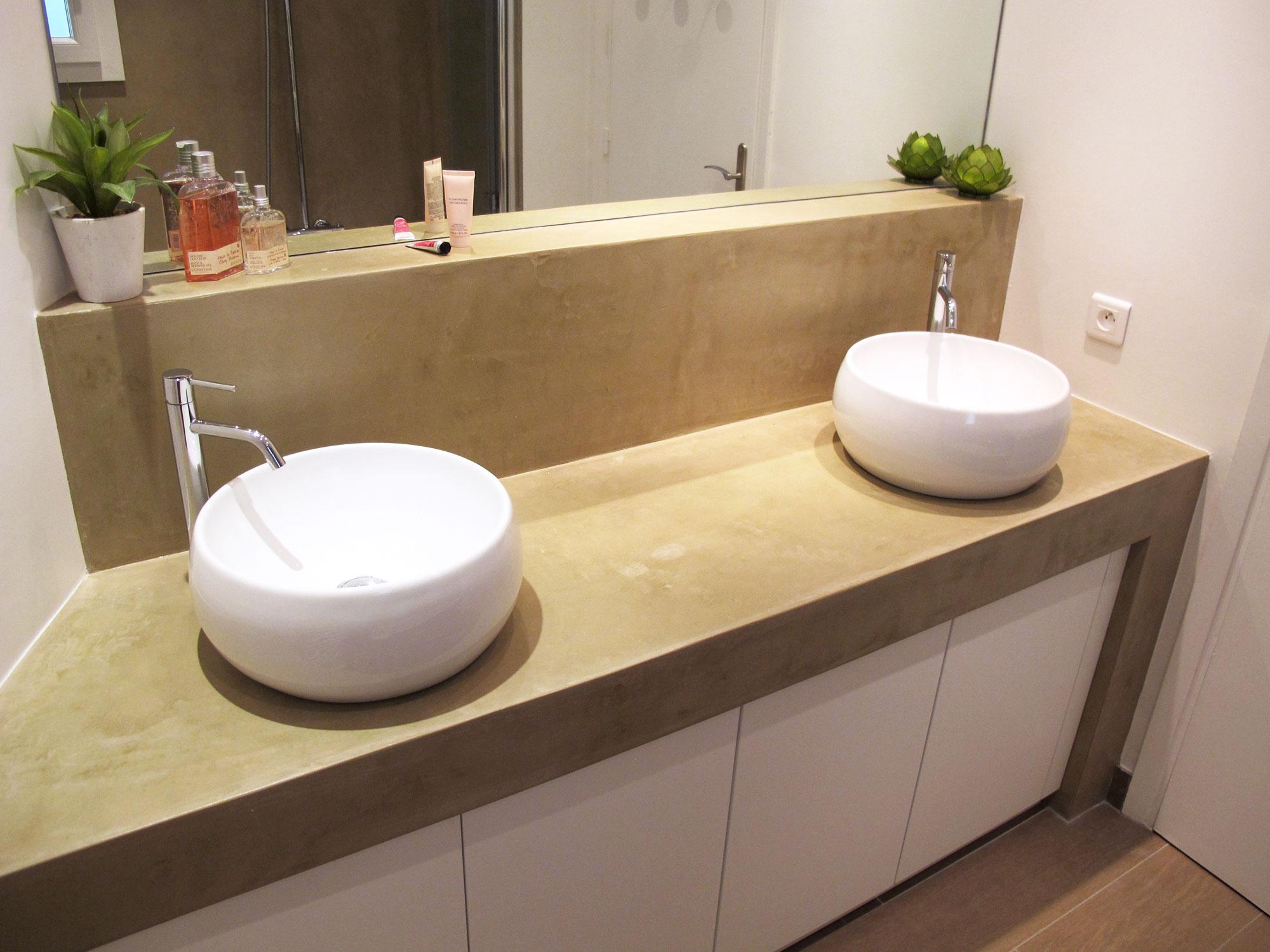 Meuble En Béton Ciré salle de bain - béton ciré et carrelage parquet